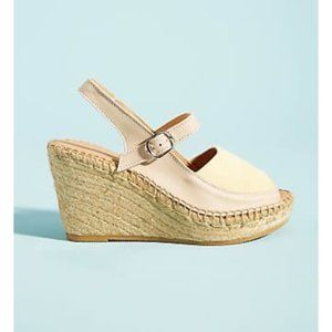 Anthropoloie New Naguisa Leather Espadrille Wedge